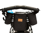 Premium Stroller Organiser For Busy Moms. 2 Deep Cup Storage Holders & Extra Large Pocket Fits iPhones, iPads, Wallet, Nappies, Books, Toys. Best Baby Shower Gift! Universal Fit. Free Stroller Hook!