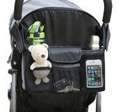 BEST STROLLER organiser Baby Accessory-Universal Fit w/ Adjustable Straps-Two Deep Cup Holders-Adjustable Compartments-Stroller Caddy-Extra Large Space For Nappies & Toys