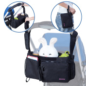 Gotofine 5-In-1 Universal Stroller Organiser Bag with Portable Baby Changing Pad and Detachable Pouch. Increase Your Stroller Storage