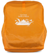 Gate Cheque Bag for Car Seats, citron orange. Durable, roomy travel bag protects your car seat from dirt and grime. By Modern Momma. Covers Britax, Chicco, Eddie Bauer, Evenflo, etc.