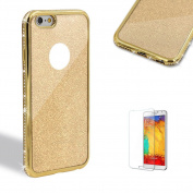 For iPhone 7 Plus Case 14cm Cover with Free Screen Protector,Funyye Bling Flash Powder Rhinestone Electroplate Plating Frame Crystal Soft Gel Silicone TPU Embedded Diamond with Lovely and sparkly in Different Colour Case Cover for iPhone 7 Plus-Gold