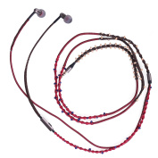 Handmade Braided Beaded Neacklace Earbuds Noise Cancelling Headphone with Mic for Workout Gym Premium HD Sound Earphones