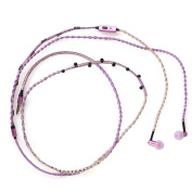 Headphone Necklace Stereo Noise-isolation Bead Decorate In-Ear Earphone with Call/Hang Up Function