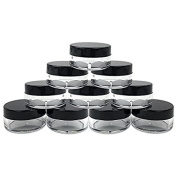VNDEFUL 25pcs New Empty Cosmetic Storage Containers Black Cap Clear Base Plastic Cosmetic Containers, for Make Up, Eye Shadow, Nails, Powder, Paint, Jewellery