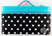Caboodles MEDIUM VANITY VALET IN BLACK WHITE DOTS BASE TURQ PATENT