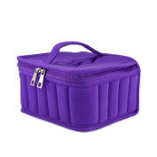 Pretty See Essential Oil Carrying Case 30 Bottle Velvet Essential Oil Soft Case Portable Handle Bags for Travel and Daily Use, Large Capacity, Barrier Design, Purple