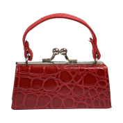 Crocodile Lipstick Case with Handle Mini Mahjong Coin Purse - Red