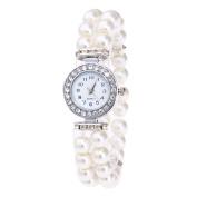 Voberry Women Pearl String Bracelet Lady Fashion Rhinestone Quartz Wrist Watch