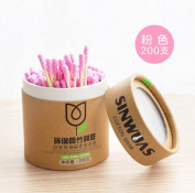 Kuulee Double Screw Head Wooden Stick Spiral Cotton Swabs Make Up Cotton Swabs Cosmetic Beauty Swabs Ear Clean Jewellery 200pcs Pink