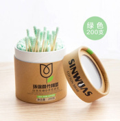 Kuulee Double Screw Head Wooden Stick Spiral Cotton Swabs Make Up Cotton Swabs Cosmetic Beauty Swabs Ear Clean Jewellery 200pcs Green