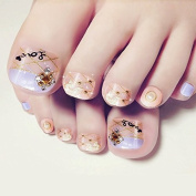 YUNAI Fake Nails for Toes with Golden Plaid Ligh Purple & Nude Design Lovely Toenail