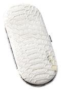 """Bey-Berk 5 Piece Manicure Set In """"Snake"""" Pattern Leather Case, White, 0.2kg"""
