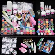 iMeshbean Super 42 in 1 Nail Art Set Acrylic Nail Powder Glitter Brush Fake Finger Pump Design Nail Art Tools Kit Set for Professional and Home Use USA