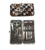 One Set 12pcs Stainless Steel Personal Manicure and Pedicure Set Travel Grooming Kit with Box