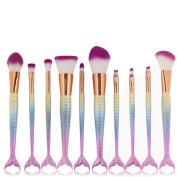 ExGizmo 10ps Fishtail Mermaid Powder Face & Eye Blush Makeup Cosmetic Mermaid Brush Tool