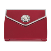 Pearl and Crystal Envelope Compact Mirror - Ruby