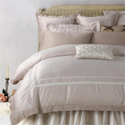 Modern Bedding Sets 100% Cotton Tribute Silk Bedding Set White Embroidered Hotel Duvet Cover Set Queen Size with Bed Sheet Pillowcase , romeo