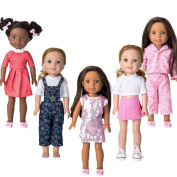 WYHTOYS 5pcs Doll Clothes and Shoes Set for 36cm 37cm American Girl Doll Wellie Wishers Doll