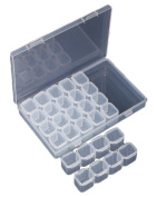 28-Grid Plastic Storage Box Jewellery Organiser Storage Container Case with Removable Dividers