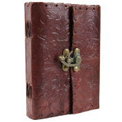 Floral Motif Leather Journal Blank Unlined Notebook Diary Sketchbook with Latch 13cm X 18cm