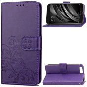 EC-touch Simple Beautiful Colourful Flower [Magnetic] Style PU Leather Case Wallet Flip Stand [Flap Closure] Cover for Xiao Mi 6