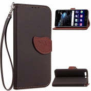 EC-touch Simple Beautiful Colourful Flower [Magnetic] Style PU Leather Case Wallet Flip Stand [Flap Closure] Cover for Huawei