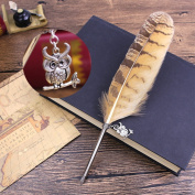 Novelty Vintage Owl Feather Pen Refined Feather Quill Dip Pen for Wedding Signature Writing Pen