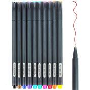 NUOLUX Fineliner Colour Pen Set,0.38mm Fine Liner Drawing Pen 10 Pcs,Assorted Colours