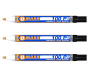 3 Pack - Black Valve Action Metal Paint Marker U-Mark, Made In USA
