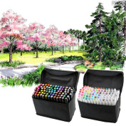Kangkang@ 80 PCS Colour Paint Graphic Art Twin Nib Alcohol Based Ink Pen Marker Point Pen Set with Storage Bag rotuladores colores Markers