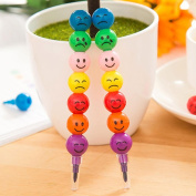 Malloom 1PC New 7 Colours Cute Stacker Swap Smile Face Crayons Graffiti Pen Children Drawing Gift