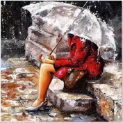 Dorara DIY Oil Painting Paint By Number Hand Paintworks 16×50cm Women in the Rain