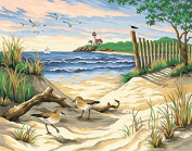 Dorara DIY Oil Painting Paint By Number Hand Paintworks 16×50cm Beauty Of The Beach