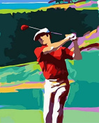Dorara DIY Oil Painting Paint By Number Hand Paintworks 16×50cm Play golf