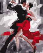 Dorara DIY Oil Painting Paint By Number Hand Paintworks 16×50cm tango dancers
