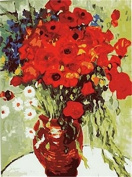 Dorara DIY Oil Painting Paint By Number Hand Paintworks 16×50cm Van Gogh Vase with Daisies and Poppies