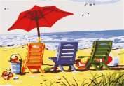 Dorara DIY Oil Painting Paint By Number Hand Paintworks 16×50cm Beach Chair Trio