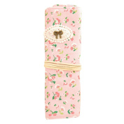 Wrap Pencil Case Vintage Floral Pen Bag Stationery Pouch Cosmetic Bag for Women Girls Pink