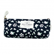 Vintage Floral Pencil Case Pen Bag Stationery Pouch Cosmetic Bag for Women Girls Deep Blue