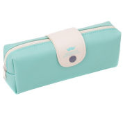 PU Leather Pencil Case Simple Style Pen Bag Stationery Pouch Cosmetic Bag for Girls Boys Blue