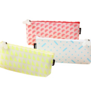 3 Pcs Fashion Waterproof Pencil Case Soft Colour Pen Bag Stationery Pouch Cosmetic Bag for Women Girls