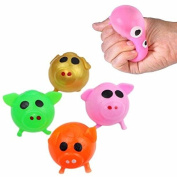Kids Piggy Shaped SPLAT BALLS Green, Gold, Pink & Orange -Fidget, Stress, ADHD & Mobile Eraser