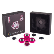Worlds First Stackable Spinner From Envolve,The STACK AND SPIN Fidget Spinner (Pink/White) - Two Spinners Included, Use As Individuals Or Stack Together,For focus, calm anxiety, and break nervous habits - Long spins 3-4 minutes