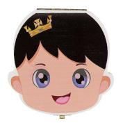 Foutou Tooth Box Organiser for Baby Milk Teeth Lanugo Hair Save Wood Storage Box for Kids Colourful Profile Pattern Keep Memory English