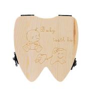 Foutou Tooth Box Organiser for Baby Milk Teeth Save Wood Storage Box for Kids Unisex Keep Sweet Memory English