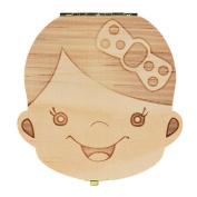 Foutou Tooth Box Organiser for Baby Milk Teeth Save Wood Storage Box for Kids Boy & Girl Keep Sweet Memory Spanish