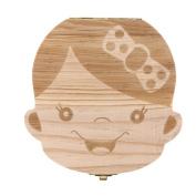 Foutou Tooth Box Organiser for Baby Milk Teeth Save Wood Storage Box for Kids Boy & Girl Keep Sweet Memory English
