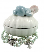 Baptism Porcelain Clam with Sleeping Baby Boy Figurine Keepsake Box With Rosary