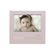 Little Blossoms by Pearhead Born To Sparkle Keepsake Photo Frame, Baby Girl Nursery Gallery Wall, Pink