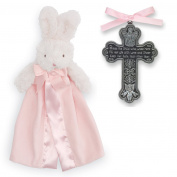 Baptism Gifts for Girl | Pewter Bless The Child Crib Cross and Mud Pie Pink Bunny Lovie | Christening Gift for Girls from Godmother or Grandparents | Bundle of 2 items